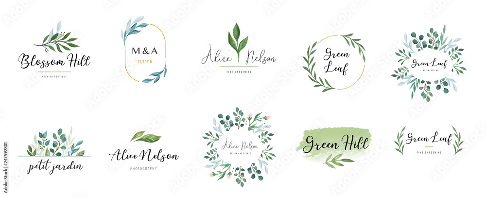 Fototapety, obrazy: Elegant logos, Wedding monograms, hand drawn elegant, delicate collection
