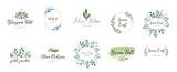 Fototapeta Kwiaty - Elegant logos, Wedding monograms, hand drawn elegant, delicate collection