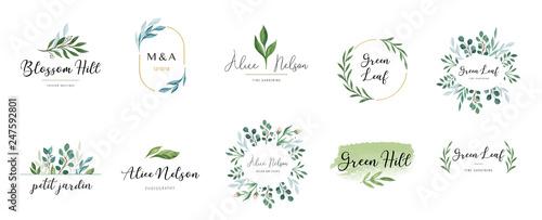 Obraz Elegant logos, Wedding monograms, hand drawn elegant, delicate collection - fototapety do salonu