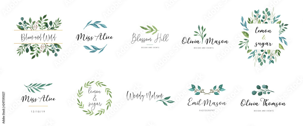 Fototapeta Elegant logos, Wedding monograms, hand drawn elegant, delicate collection