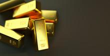 Gold Bar Close Up Shot. Wealth Business Success Concept