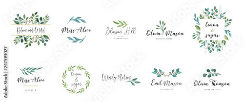 Elegant logos, Wedding monograms, hand drawn elegant, delicate collection Wallpaper Mural