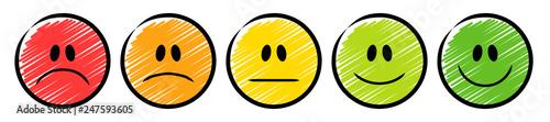 Fotografía 5 farbige Ampel-Smileys mit einer Emotions-Skala von traurig bis lächelnd / Schr