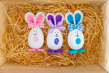 Easter Rabbit And Eggs With Colorful Eggs Around And White Background