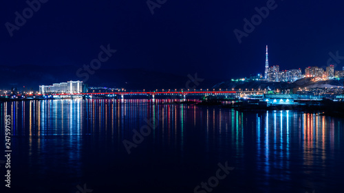 Fototapeta beautiful views of the night city of Krasnoyarsk obraz