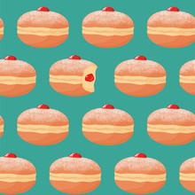 Seamless Pattern With Sufganiyah Donuts (doughnuts) With Powdered Sugar Topping, One Donut With Missing Bite And Jam Filling. Israel Pastry. Traditional Hanukkah Dish. Vector Illustration.