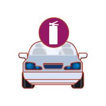 Car Sedan With Extinguisher