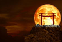 Blood Moon Back Torii Over Stone And Rock Of Cliff