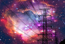Silhouette Power Electric Pole And Electric Line Colorful Galaxy Nebula Sky
