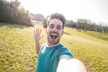 Happy Man Taking A Selfie At The Park