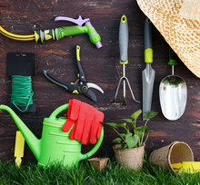 Gardening Tools On Old Wooden Wall In The Garden, Garden Maintenance And Hobby Concept