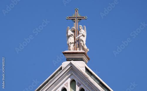 Fotografie, Obraz  Two angels holding a cross, Basilica di Santa Croce (Basilica of the Holy Cross)