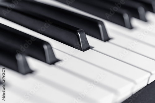 Piano keys close up view  Classical music instrument for