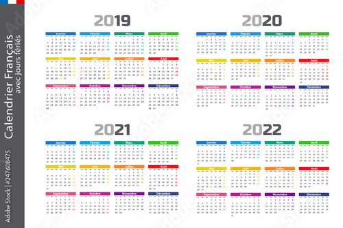 Calendrier français 2019, 2020, 2021 et 2022   Buy this stock
