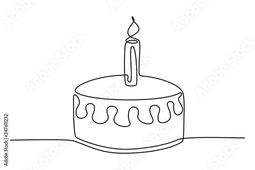Sensational Continuous Line Drawing Birthday Cake With Candle Symbol Of Birthday Cards Printable Trancafe Filternl
