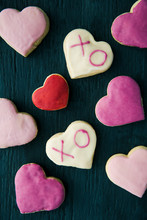 Heart Shaped Cookies With Pink Frosting