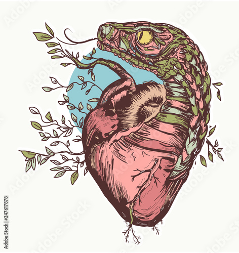 Canvas Print Snake and heart tattoo and t-shirt design