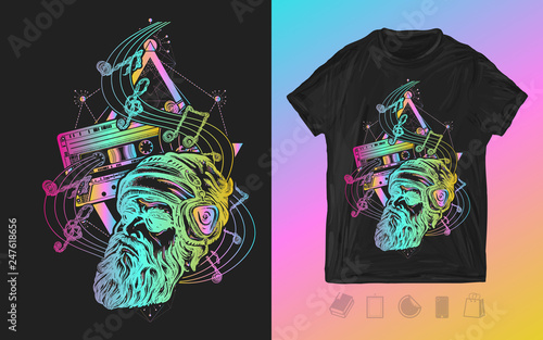 Old school music  Neon print for t-shirts and another, trendy