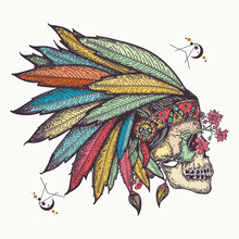 Indian Skull. Tattoo And T-shi...