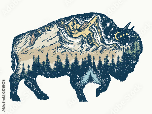 Buffalo Bull Tattoo And T Shirt Design Magic Tribal Bison Double