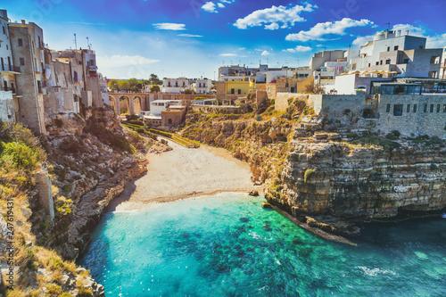 Scenic view of Lama Monachile Cala Porto beach in Polignano a Mare, Italy Wallpaper Mural