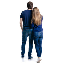Man And Woman Hold Hands On White Background Isolation, Back View