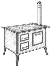 Vintage Kitchen Stove Illustration, Drawing, Engraving, Ink, Line Art, Vector