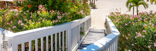 Wooden Boardwalk on beach in St. Pete, Florida, USA Canvas Print