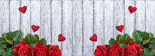 Banner With Red Roses, Valentine Hearts And Place For Your Text On Background Of Shabby Wooden Planks