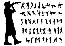 Hip-hop Artists Of Dance On White Background