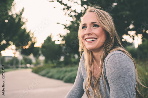 Beautiful young woman at the park