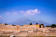 View with a unique perspective of Mount Vesuvius and the Archaeological ruins in Pompeii, Naples (Napoli), Italy, Europe