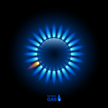 Gas Flame With Blue Reflection...