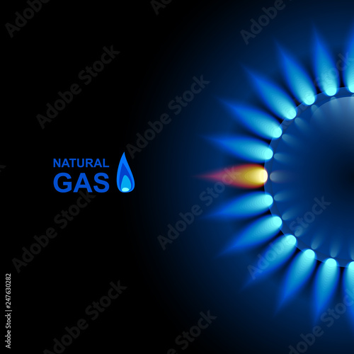 Pinturas sobre lienzo  Gas flame with blue reflection on dark backdrop