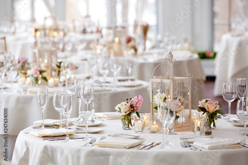 Canvas Print Wedding table set for fine dining