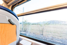 Interior Inside Window Architecture In Italy With Modern Moving Fast Motion Train And Seats Design With View Of Tuscany Or Umbria