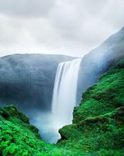 Famous Skogafoss Waterfall On Skoga River, Iceland