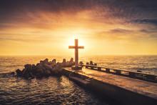 Silhouette Christian Cross In ...