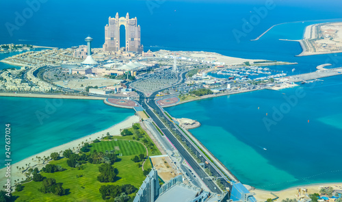 Bird's eye and aerial drone view of Abu Dhabi city from observation deck Wallpaper Mural