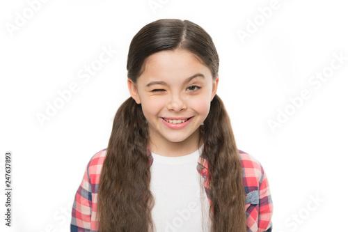 Photo  Little girl grow long hair