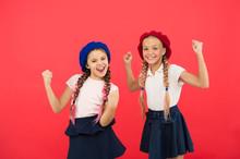 School Fashion Concept. Pupil Smiling Girls Wear Formal Uniform And Beret Hats. International Exchange School Program. Education Abroad. Apply Form Enter International School. French Language School