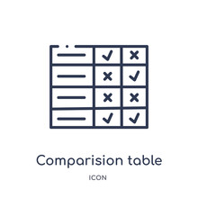 Comparision Table Icon From User Interface Outline Collection. Thin Line Comparision Table Icon Isolated On White Background.