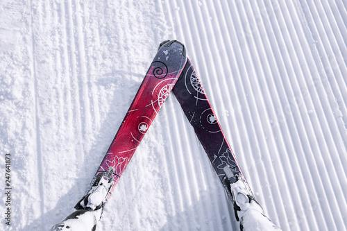 Fotografie, Obraz  Skier first-person view of the ski snow slope