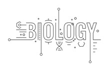 Biology Word Concept, Biology Word Infographic Colored Design