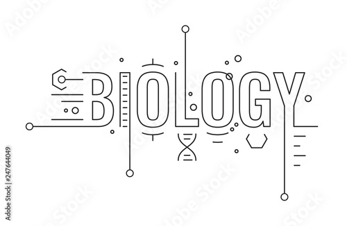biology word concept, biology word infographic colored design Fototapet