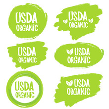 USDA Organic Shield Sign. Stam...