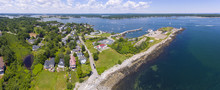 Portsmouth Harbor Lighthouse And Fort Constitution State Historic Site Panorama Aerial View In Summer, New Castle, New Hampshire, USA.