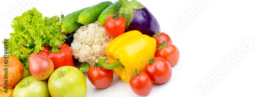 Staande foto Verse groenten Fruits and vegetables isolated on a white background. Wide photo.