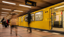 Berlin Subway Moving Train Wit...