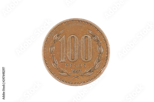 Fotografie, Obraz  A macro image of an old Chilean one hundred peso coin isolated on a white backgr